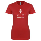 Next Level Ladies SoftStyle Junior Fitted Red Tee-Southern Seminary Grandma