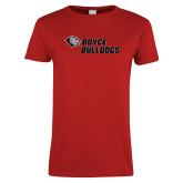 Ladies Red T Shirt-Boyce Bulldogs w Bulldog Head
