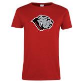 Ladies Red T Shirt-Bulldog Head