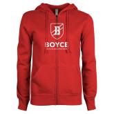 ENZA Ladies Red Fleece Full Zip Hoodie-Boyce Primary Mark Vertical