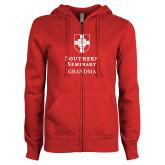 ENZA Ladies Red Fleece Full Zip Hoodie-Southern Seminary Grandma