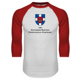 White/Red Raglan Baseball T Shirt-Primary Mark Vertical