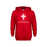 Youth Red Fleece Hoodie-Primary Mark Vertical