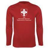 Performance Red Longsleeve Shirt-Primary Mark Vertical
