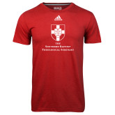Adidas Climalite Red Ultimate Performance Tee-Primary Mark Vertical