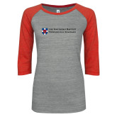 ENZA Ladies Athletic Heather/Red Vintage Baseball Tee-Primary Mark