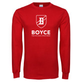 Red Long Sleeve T Shirt-Boyce Primary Mark Vertical