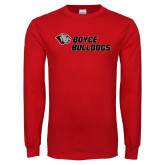 Red Long Sleeve T Shirt-Boyce Bulldogs w Bulldog Head