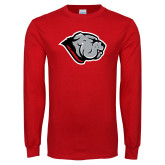 Red Long Sleeve T Shirt-Bulldog Head