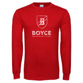 Red Long Sleeve T Shirt-Boyce Vertical Mark Distressed