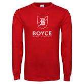 Red Long Sleeve T Shirt-Boyce Vertical Mark Distressed
