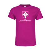 Youth Cyber Pink T Shirt-Primary Mark Vertical