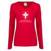 Ladies Red Long Sleeve V Neck Tee-Primary Mark Vertical