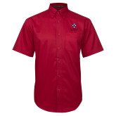 Red Twill Button Down Short Sleeve-Southern Seminary Vertical
