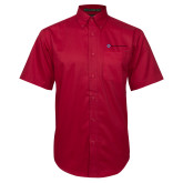 Red Twill Button Down Short Sleeve-Southern Seminary Flat