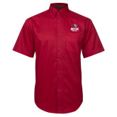 Red Twill Button Down Short Sleeve-Soccer