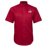 Red Twill Button Down Short Sleeve-Volleyball