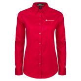 Ladies Red Twill Button Down Long Sleeve-Southern Seminary Flat
