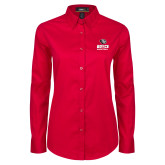 Ladies Red Twill Button Down Long Sleeve-Basketball