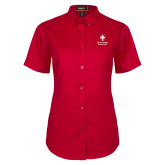 Ladies Red Twill Button Up Short Sleeve-Southern Seminary Vertical
