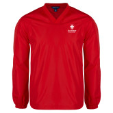 V Neck Red Raglan Windshirt-Southern Seminary Vertical