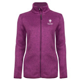 Dark Pink Heather Ladies Fleece Jacket-Southern Seminary Vertical