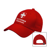 Red Heavyweight Twill Pro Style Hat-Southern Seminary Vertical