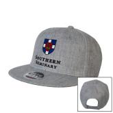 Heather Grey Wool Blend Flat Bill Snapback Hat-Southern Seminary Vertical