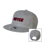 Heather Grey Wool Blend Flat Bill Snapback Hat-Boyce