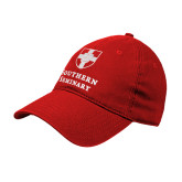 Red Twill Unstructured Low Profile Hat-Southern Seminary Vertical