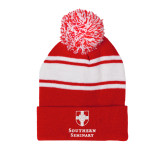 Red/White Two Tone Knit Pom Beanie w/Cuff-Southern Seminary Vertical