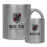 Full Color Silver Metallic Mug 11oz-Boyce Primary Mark Vertical