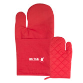 Quilted Canvas Red Oven Mitt-Boyce Primary Mark