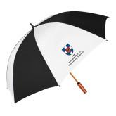 62 Inch Black/White Vented Umbrella-Primary Mark Vertical
