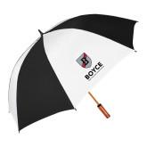 62 Inch Black/White Vented Umbrella-Boyce Primary Mark Vertical