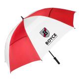 62 Inch Red/White Vented Umbrella-Boyce Primary Mark Vertical