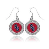 Crystal Studded Round Pendant Silver Dangle Earrings-Interlocking SB