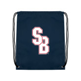 Navy Drawstring Backpack-Interlocking SB