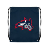 Navy Drawstring Backpack-Wolfie Head