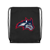 Black Drawstring Backpack-Wolfie Head