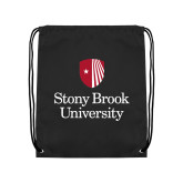 Black Drawstring Backpack-University Mark Vertical