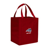 Non Woven Red Grocery Tote-Wolfie Head and Stony Brook