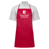 Full Length Red Apron-University Mark Vertical