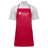 Full Length Red Apron-University Mark Stacked