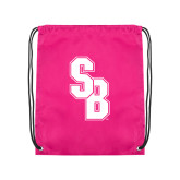 Pink Drawstring Backpack-Interlocking SB