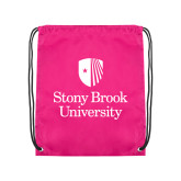 Pink Drawstring Backpack-University Mark Vertical
