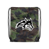 Camo Drawstring Backpack-Wolfie Head