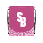 Nylon Zebra Pink/White Patterned Drawstring Backpack-Interlocking SB