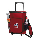 30 Can Red Rolling Cooler Bag-Wolfie Head and Stony Brook