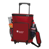 30 Can Red Rolling Cooler Bag-University Mark Stacked